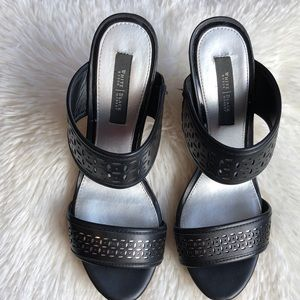 White House Black Market Black Wedge Slides